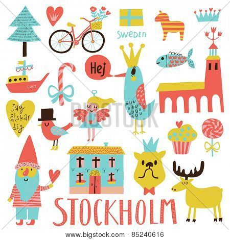 Lovely Stockholm Sweden set in vector. Sweet stylish scandinavian set with house, church, gnome, birds, moose, bicycle, horse and other Stockholm symbols in bright colors