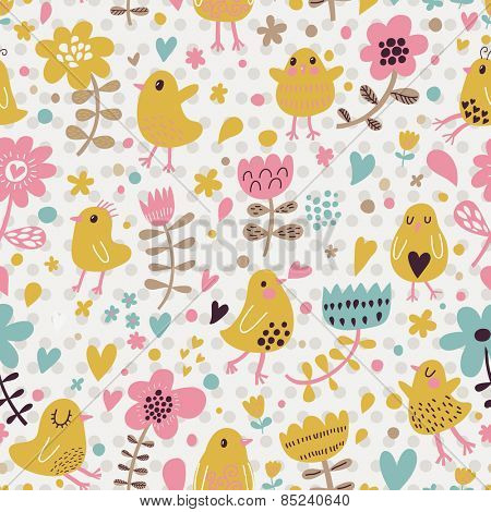 Sweet funny chicken in flowers. Bright summer romantic background in vector. Seamless pattern can be used for wallpapers, pattern fills, web page backgrounds, surface textures