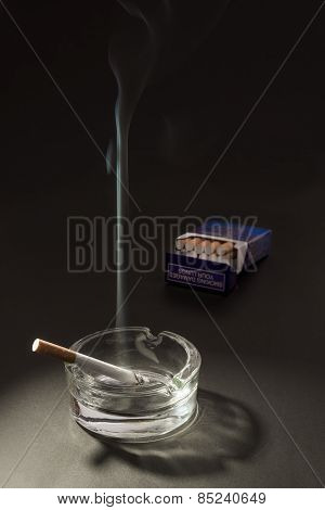 Lid Cigarette In Ashtray