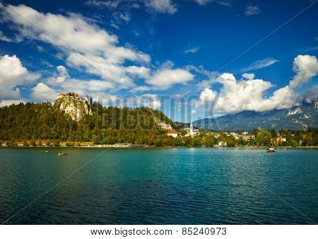Bled lake landscape with mountain, Slovenia