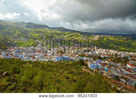 Chefchaouen blue town, Morocco. Bird view