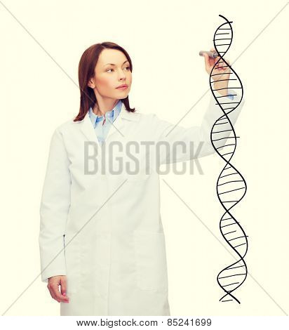 healthcare, medical and technology concept - young female doctor writing dna molecule in the air