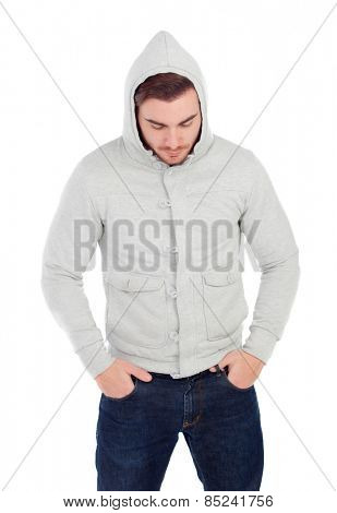 Sad boy hooded isolated on a white background