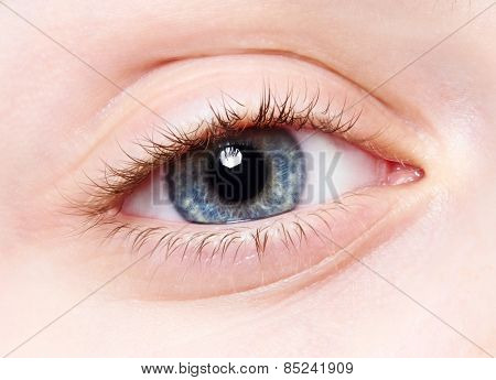Close-up macro human female child eye