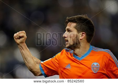 BARCELONA - 8, FEB: Pablo Piatti of Valencia CF during spanish League match against RCD Espanyol at the Estadi Cornella on February 8, 2015 in Barcelona, Spain