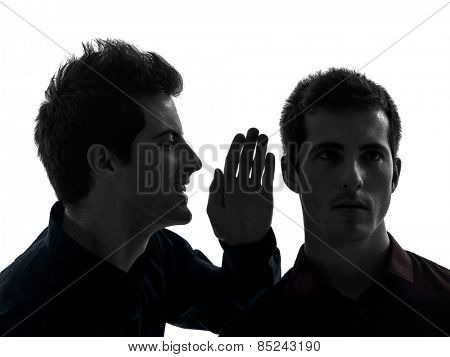 two  young men influence concept in shadow white background