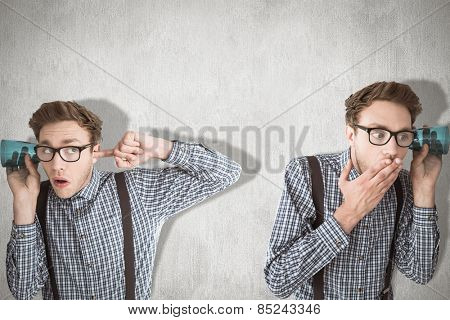 Nerd eavesdropping against white and grey background