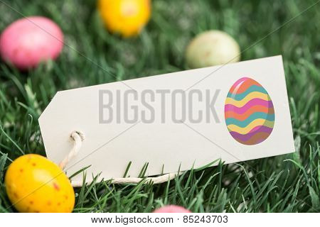 easter egg against blank tag with easter eggs