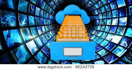 Cloud computing drawer against vortex of digital screens in blue