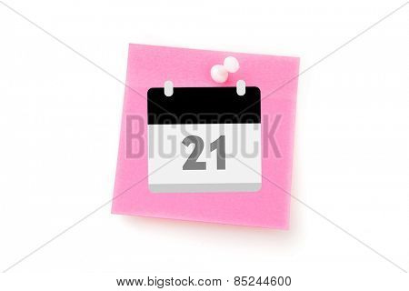 Calander against pink adhesive note with pushpin
