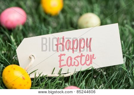 happy easter against blank tag with easter eggs