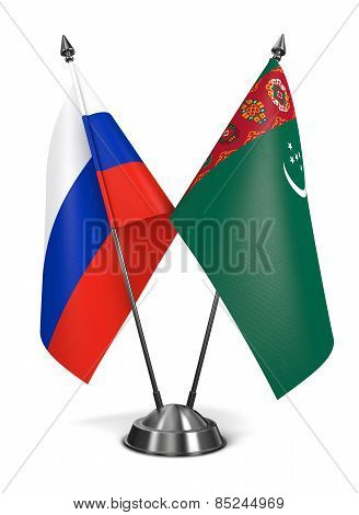 Turkmenistan and Russia - Miniature Flags.