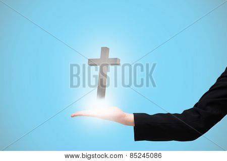 Businesswomans hand presenting against blue background with vignette