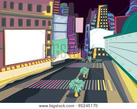 Frame Illustration of a Crowded and Colorful City at Night