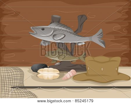 Illustration of a Stuffed Fish Mounted Above Fishing Gear