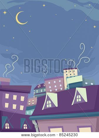 Whimsical Background Illustration of Houses Under the Night Sky