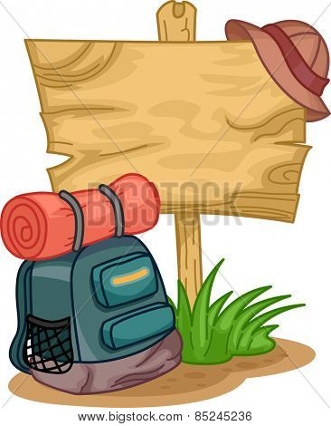 Illustration of a Camping Bag Sitting Beside a Wooden Sign