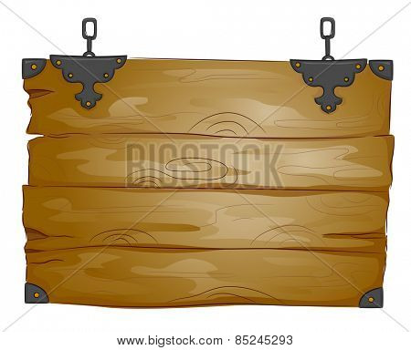 Illustration of a Blank Wooden Board with a Rustic Design