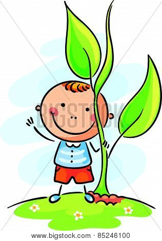 Child and giant sprout