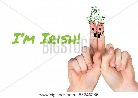 Patricks Day fingers against im irish