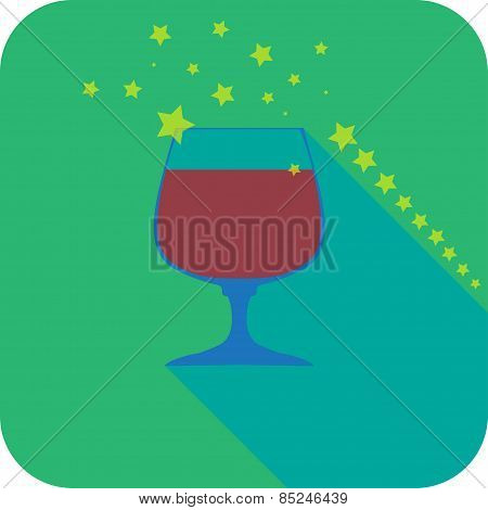 Glass Cognac Beer Flat Design Stylized Vector Party Drink Icon