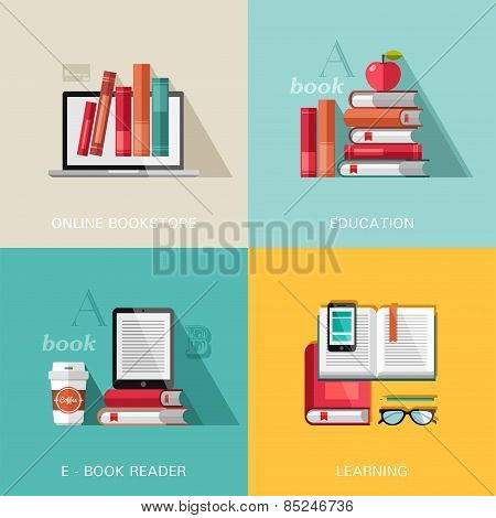 Flat design concepts - education.
