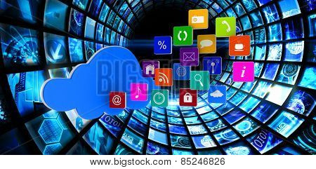 Cloud with apps against vortex of digital screens in blue