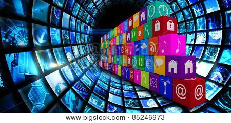 App wall against vortex of digital screens in blue
