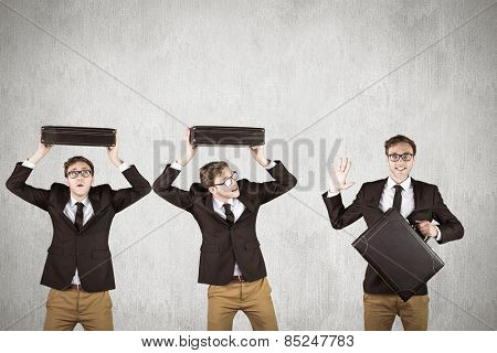 Nerdy businessman against white and grey background