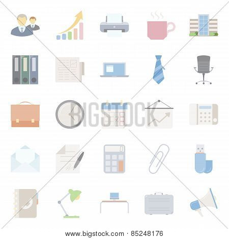 Office And Marketing Flat Icons Set