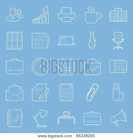 Office And Marketing Thin Lines Icons Set