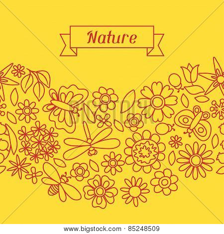 Natural pattern with beautiful flowers, beetles and butterflies.