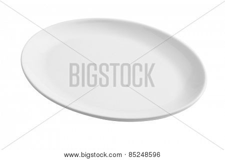 white empty oval plate isolated