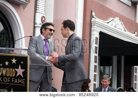 LOS ANGELES - MAR 11:  Chuck Lorre, Jim Parsons at the Jim Parsons Hollywood Walk of Fame Ceremony at the Hollywood Boulevard on March 11, 2015 in Los Angeles, CA