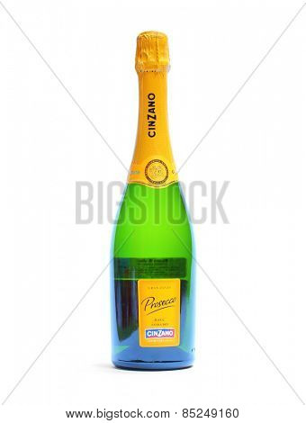 PILSEN CZECH REPUBLIC - MARCH 12, 2015: Cinzano Prosecco spumante Doc Italian sparkling wine by Gruppo Campari. Bottle isolated on white background.