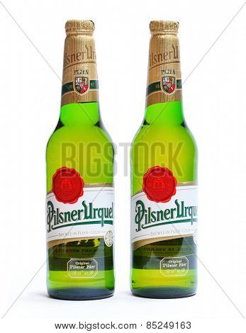 PILSEN CZECH REPUBLIC - MARCH 12, 2015: Pilsner Urquell is a famous beer from Czech Republic with tradition from 1842 year.