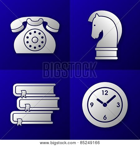 Set Of Business Icons - Old Telephone, Strategy Horse, Pile Of 3 Books And Time C