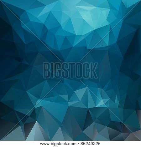 Vector Polygonal Background Pattern - Triangular Design In Blue Colors