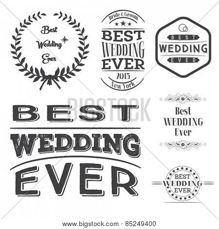 Set of best wedding ever labels