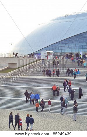 Ice hockey fans going to game in Bolshoy Ice Dome during ice hockey,Sochi,Russia