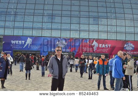 Ice hockey fans going to game in  Bolshoy Ice Dome during ice hockey