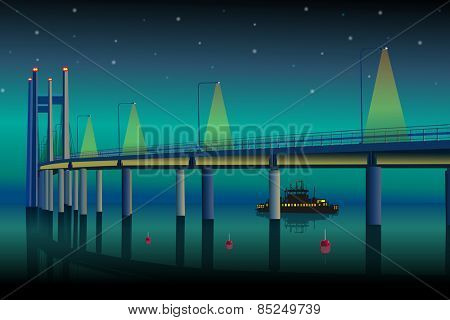 Modern bridge at night. EPS 10 format.