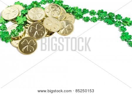 Saint Patrick's Day decorations on a white background