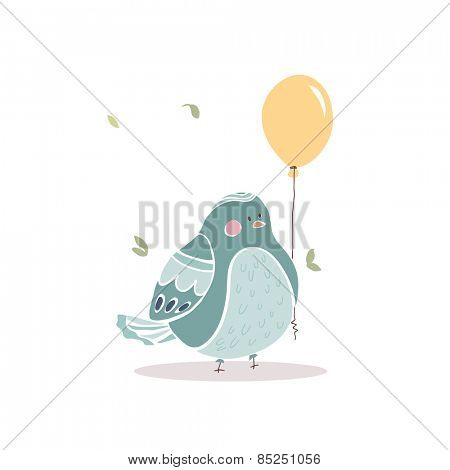 birthday card with chubby bird with aballoon