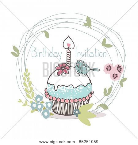 birthday cupcake invitation card