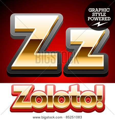 Vector set of classic 3D golden glossy font with black mat border. Optional different styles. Letter Z
