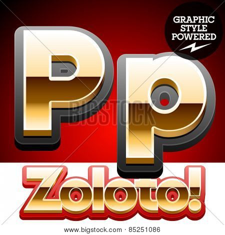Vector set of classic 3D golden glossy font with black mat border. Optional different styles. Letter P