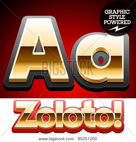 Vector set of classic 3D golden glossy font with black mat border. Optional different styles. Letter A