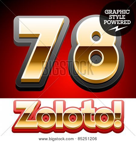 Vector set of classic 3D golden glossy font with black mat border. Optional different styles. Numbers 7 8
