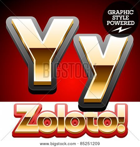 Vector set of classic 3D golden glossy font with black mat border. Optional different styles. Letter Y